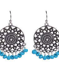 Vintage Women Ethnic Fashion Made Hand Beads Earrings Hollow Out Flower Shaped Dangle Earrings Jewelry