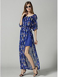 Women's Print Round ½ Length Sleeve Dresses (Chiffon)