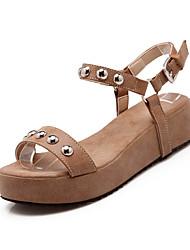 Zapatos de mujer - Plataforma - Plataforma - Sandalias - Vestido - Semicuero - Rojo / Gris / Beige
