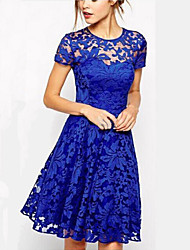 Kaman Women's Casual/Work Round Short Sleeve Dresses (Lace)
