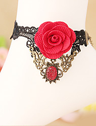 Women Fashion Body Jewelry Summer Beach Gothic Style Charm Vintage Casual Alloy Lace Pearl Flower Red Rose Anklets