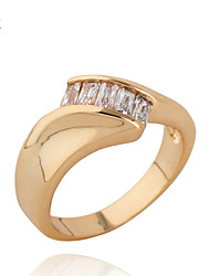 KuNiu Women's High Quality Classic 18K Gold Plated  Inlay Zircon Rings J0077