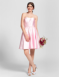 Bridesmaid Dress Knee-length Stretch Satin A-line Strapless Dress