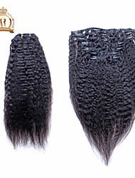 """reina 10 soleado """"-20"""" pinza de pelo humano en extensiones de cabello rizado eurasiático pelo virginal rectas humanos 7pcs del pelo 120g"""