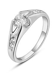 T&C Women's 18K White Gold Plated Mounting 0.8 Ct Zirconia Diamond Engagement Jewelry Rings