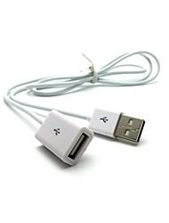 extensão usb carregador cabo 1m branco