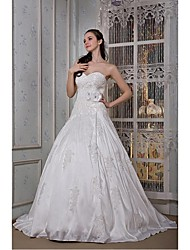 A-line Wedding Dress - White Cathedral Train Sweetheart Taffeta