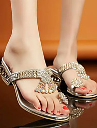 Women's Shoes Rhinestone Low Heel Toe Ring Sandals/Slippers Dress Silver/Gold