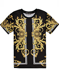 X-Man Men Floral Print Causual Fashion Short Sleeve T-shirt