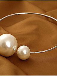 Women's Choker Necklaces Pearl Necklace Statement Necklaces Circle Pearl Alloy Basic Fashion Bridal Oversized Jewelry ForWedding Party