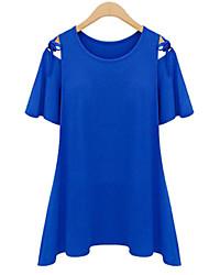 Kaman Women's Casual/Work Round Short Sleeve T-Shirts (Cotton)