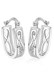 lureme® Fashion Style Silver Plated Hollow U-Shaped with Zircon Hoop Earrings