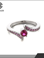 2015 Latest Plating Platinum Zircon rose color Ring