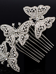 Alloy Clear Rhinestone Women Wedding Prom Flower Butterfly Girl Leaves Flower Hair Comb