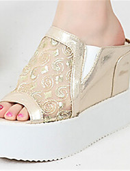 Women's Shoes Tulle Wedge Heel Wedges Slippers Outdoor Silver/Gold