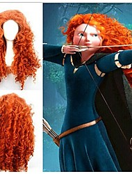 laranja longo encaracolado peruca cosplay anime
