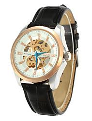 moda em couro pulseira de strass decoração dos homens cjiaba escavar relógio de pulso mecânico automático (duas opções de cores)