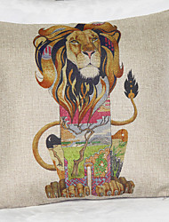Retro Hand-Painted Lion Pillowcases Composite Flax Mouldproof Absorb Sweat Breathe freely
