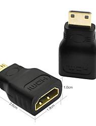 100pcs HDMI femelle de type mini HDMI adaptateur mâle d f / m connecteur convertisseur caméra hd tv Vente en gros