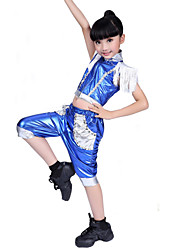 Jazz Performance Outfits Children's Matching Performance Polyester Tassel Outfit Blue/Gold Kids Dance Costumes