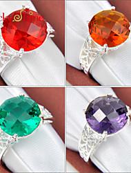 Lucky Shine Unisex Silver Rings With Gemstone Round Shine Brazil Citrine Green Quartz Amethyst Topaz Crystal