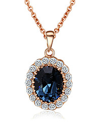 HKTC 18k Rose Gold Plated with Rhinestones Surrounded Blue Sapphire Crystal Pendant Necklaces