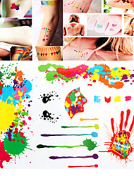 1 PC Tattoo Stickers Watercolor Mixed  for Body Makeup S010