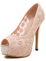 Women's Shoes Lace Stiletto Heel Peep Toe Platform Pumps Party More Colors available