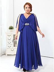 Fiesta formal Vestido - Rosa/Azul Real Corte Recto Hasta el Suelo - Escote en V Velet gasa