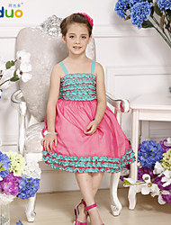 Kids Girl's Layered Ruffles Contrast Color Princess Pageant Party Puff Braces Dress