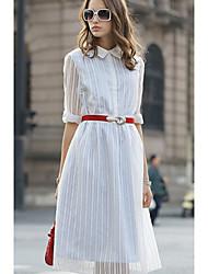 Robe Aux femmes Ample / Courte Grandes Tailles / Vintage / Travail / Décontracté , Rayé Col de Chemise / Mao MidiCoton / Spandex /