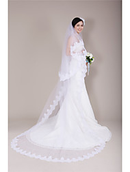 Wedding Veil Two-tier Cathedral Veils Lace Applique Edge Tulle White Ivory Beige