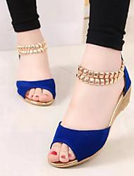 Keilabsatz - 3-6cm - Damenschuhe - Sandalen ( Veloursleder , Schwarz/Blau )