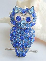 Women Accessories Blue Rhinestone Crystal Brooch Art Deco Bird Owl Brooch Women Jewelry