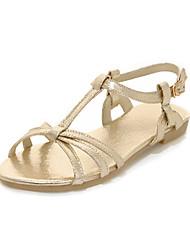 DamenKleid-Kunstleder-Niedriger Absatz-T-Riemen-Silber / Gold