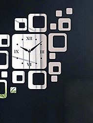 Silver Squares Luxury Wall Art DIY Clock Mirror Stickers for Home Decoration (Two Colors Options)