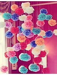 Hochzeitsdekor 10pcs 4 Zoll (15 cm) Gewebe pom poms Blume für Tag Geburtstag Dekor monther ist