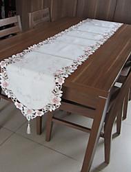 klassieke witte geborduurde tafelkleden rechthoek (grootte: 40cmx220cm)