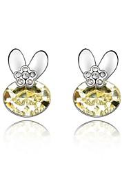Jade Rabbit Stud Earring Plated with 18K True Platinum Jonquil Crystallized Austrian Crystal Stones