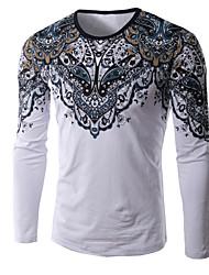 Herren T-shirt-Druck Freizeit / Büro / Übergröße Baumwolle / Polyester Lang-Weiß / Grau