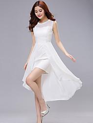 Women's White/Black Dress , Casual/Lace Sleeveless