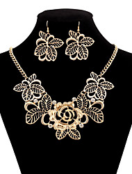 Vintage Zinc Alloy Engraving Flower Pattern Jewelery Set(Earrings & Necklace)