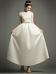 A-line Wedding Dress Ankle-length Bateau Satin with