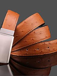 Men's Cowboy Ostrich Style Vintage Cowskin Belt Needle Buckle