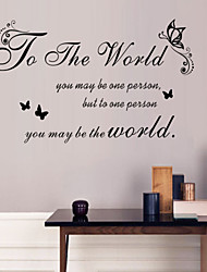 Wandaufkleber Wandtattoos Stil für die Welt Englisch Wörter&zitiert PVC-Wandaufkleber