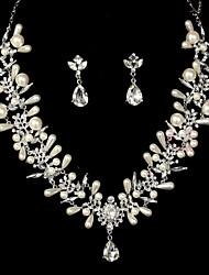 Women's Alloy Wedding/Party Jewelry Set With Imitation Pearl/Rhinestone
