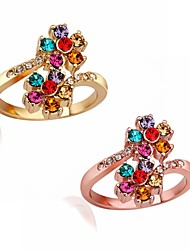 Two Color Zircon Rings Vintage/Cute/Party/Work/Casual Gold Plated/Rose Gold Plated/Rhinestone Statement Ring