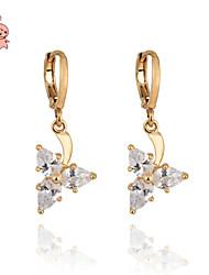 KuNiu Women's Vintage 18K Gold Plated Cut CZ Crystal  Drop Earrings ER0087