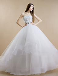 Ball Gown Sweep/Brush Train Wedding Dress -Strapless Tulle