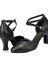 Chaussures de danse ( Noir ) - Non personnalisable - Talon Large - Flocage - Latine / Salsa
